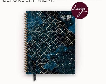 Large 2017 2018 Personalized Weekly Planner with Midnight Stellar Cover