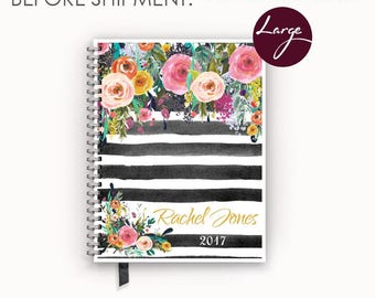 2017 2018 Large Personalized Planner with Watercolor Floral on Black Stripes Cover