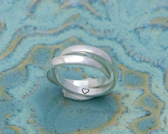 Double Interlocking Ring, Sterling Silver Rolling Ring, Hidden Symbol Domed Ring