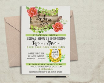 Lucky In Love Invitation.Bridal Shower Invite.Irish Invite.St Patricks Invite.