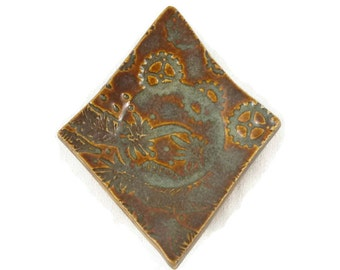 Tea Bag Holder - Foggy Blue Textured Diamond - Tea Trivet - blue green brown - lace texture