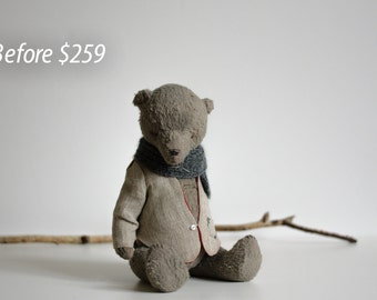 SALE 15% OFF Made To Order Handmade Christmas Gift Teddy Bear Cotton Jacket Knitted Scarf Mohair Stuffed Animal Plush Toy 9 Inches