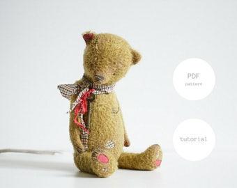 Pdf Sewing Pattern & Tutorial For Women Artist Teddy Bear 12 Inches Stuffed Animal Soft Toy Mohair Teddy Bear Pattern