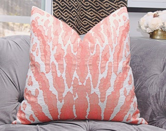 Animal Print Pillow - Coral Pink Woven Large Scale Pillow Cover - Coral Animal Throw Pillow - Motif Pillows