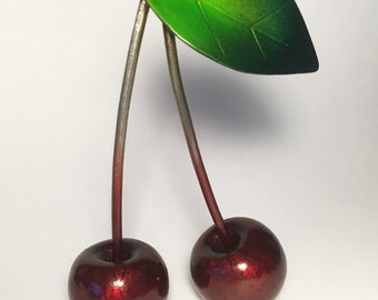 Red Cherries, Cherry, Pair of Red Cherries, Metal Sculpture