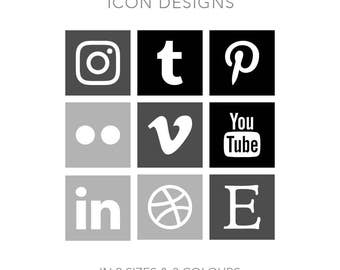 19 Square Social Media Buttons - Instant Download - Black + Gray/Grey