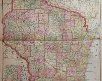 Antique WISCONSIN Map of Wisconsin State Map 1904 Vintage Travel Gallery Wall Art Gift For Birthday Wedding Anniversary Graduation 7293