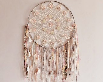 Boho dream catcher, crochet doily, wall hanging, extra large, floral, boho bedroom, gypsy soul, feathers, peach, cream, rose, dreamcatcher