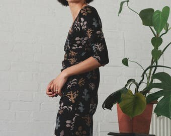 SALE - Organic cotton and bamboo wrap style dress with flower and cactus print