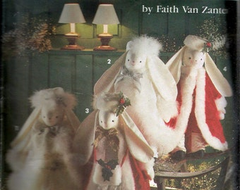 """Vintage 1992 Simplicity 8101 Faith Van Zanten 20"""" Stuffed Christmas Bunnies & Clothes Sewing Pattern One Size"""