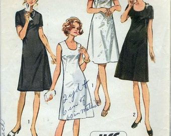 Vintage 1971 Simplicity 9268 Retro Women's Jiffy Dress With Two Necklines Sewing Pattern Size 38 Bust 42""