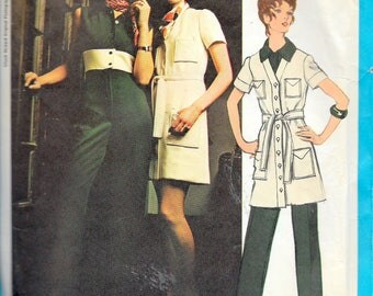 Vintage 1970 Vogue Americana 2370 Chuck Howard Coatdress & Jumpsuit Sewing Pattern Size 12 Bust 34""