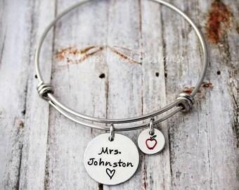 Teacher Bangle Bracelet - Teach Love Inspire - Hand Stamped - Personalized Name - Adjustable - Apple - Teacher Jewelry - Charm Bracelet