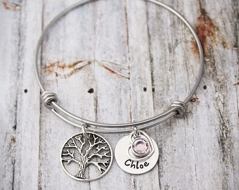 Personalized Bracelet - Gift for Mom - Gift for Grandma - New Mom - Family Tree - Tree of Life Bangle - Engraved - Custom Name Jewelry