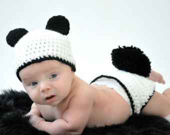 Crochet Photo Prop, Panda Costume, Newborn Costume, Baby Panda, Panda Baby, Baby Shower Gift, Panda Baby Shower, Infant Costume