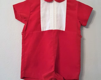 Vintage Boys Red Velvet Romper with White Lace Panel by C.I. Castro- size 12 months- New, never worn