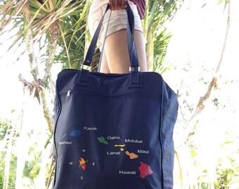 Vintage Hawaiian Islands Airline Roll Along Bag, Carry On Tote Bag, Overnight Train Bag, Summer Vacation Travel Bag, Rainbow Island Design