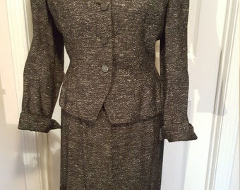 Vintage Women's Ladies Suit Hand Tailored Skirt Jacket Small Salt Pepper Gray