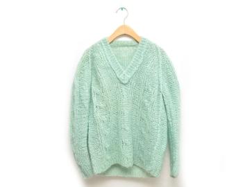 60s Mohair Mint Green V-Neck Sweater Women's Small