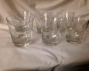 6 Mid Century Clear Glass Rock Tumblers