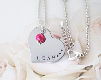 Name Necklace - Personalized - Hand Stamped - Heart Charm