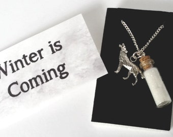 GAME of THRONES NECKLACE, Winter is Coming themed, silver plated chain with a message card and an organza bag