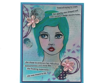 Mixed media inspirational collage card, woman's face, supernova, inspire blank card