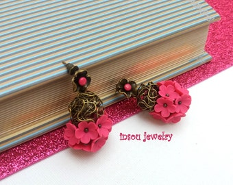 Hot Pink Earrings, Pink Stud Earrings, Pink Flower Earrings, Women Jewelry Gift, Floral Earrings, Fashion Earrings, Fuchsia Flower Earrings