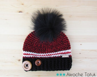Rustik hat. Red, black and cream woman crochet winter hat with buttons and fur pompom by Akroche Tatuk (made to order)