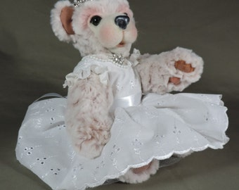 """Artist Teddy Bear, Princess Bear, OOAK Tissavel fur and needle felted face, collectible, handmade teddy, fully jointed, 14"""" tall"""