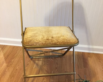 A FRITZ FOLDING Chair Golden Crushed Velvet Hollywood Regency, NYC, Manhattan Chic, at Ageless Alchemy
