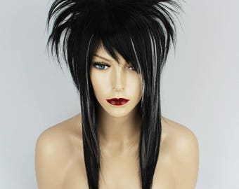 Black & White EMO Fringe Synthetic Wig, Heat Resistant.