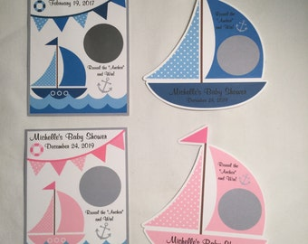 Unique Personalized Nautical Theme, Sail Boat, Nautical Baby Shower, Birthday, Any Occassion Scratch Off Lotto Game Cards
