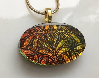 Dichroic Glass Pendant, Fused Glass Jewelry, Orange Gold Dichroic Necklace