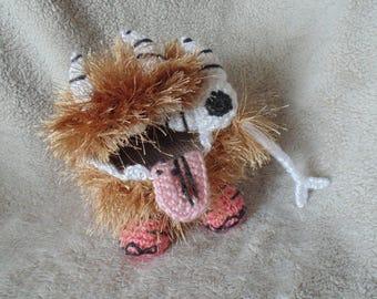 Crochet Hungry Monster Dog Stuffed Animal Doll Toy Trinket Holder