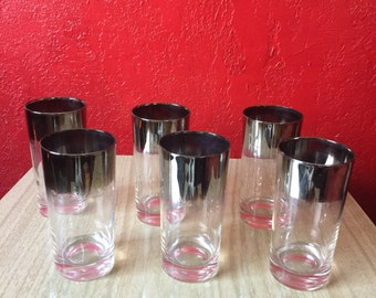 6 Vintage Silver Ombre Fade Drinking Glasses