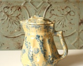 Vintage Mottled Ceramic kettle blue and yellow