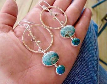 Large Hoop Earrings - Turquoise Hoop Earrings - Hoop Dangle Earrings- Dangle Earrings - Hoop Earrings - Silver and Turquoise- Lunar Eclipse