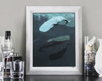 Sperm Whale Herd Art Print Illustration