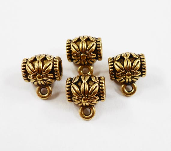 Gold Jewelry Bails 9x8mm Antique Gold Bails, Gold Flower Bails, Metal Bails, Necklace Bails, Bracelet Bails, Jewelry Findings, 10pcs