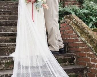 Swiss Dot Cathedral Veil, Cathedral Veil, Bridal Veil, Point de Esprit Veil, KEANE Bridal White Veil, Lace Cathedral Veil