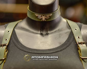 Imperium woman leather collar in military style