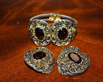 SALE! Vintage French Couture High End Amber Topaz Etruscan Detail Bracelet Earring Set SU