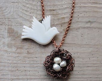 Bird Necklace, Bird and its Nest with Eggs Necklace - Freedom