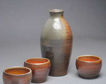 Wood Fired Sake Whiskey Set with Three Cups G29
