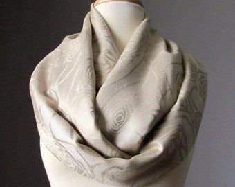 Beige scarf, nude Infinity scarf, light tan scarf, pashmina, neutral, rose scarf