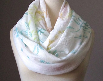 Spring Infinity Scarf, Floral Scarf, white Scarf, Pastel Circle Infinity Scarf, Light scarf
