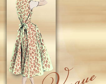 Back Wrap Dress 1950s or Tie On Jumper Pattern No Buttons Collarless Princess Seams Full Gored Skirt with Pockets Vogue 8338