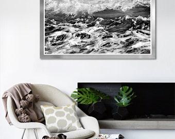 Large Black and white Ocean print, Wave photography, Abstract Water wall art, Sea print, surf, Coastal decor, 8x10,11x14, 12x16, 24x24 print