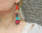 Mixed Media HUGE earrings, Plus size jewelry in Red and Turquoise, Collage art Assemblage earrings, Funky earrings, Long leather earrings